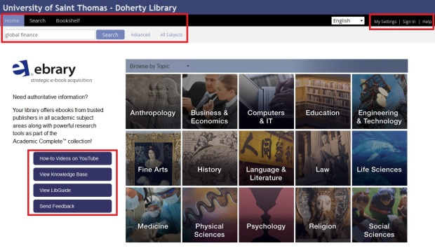 Ebrary Homepage