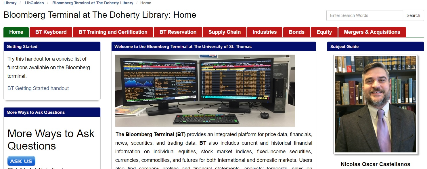 Bloomberg Terminal Research Guide Doherty Library News Notes