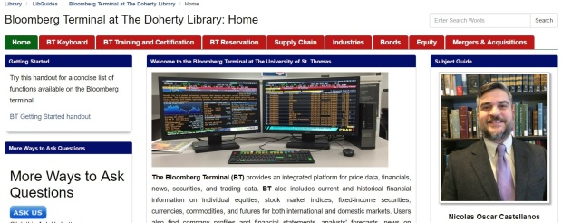 Bloomberg Terminal Research Guide | Doherty Library News & Notes